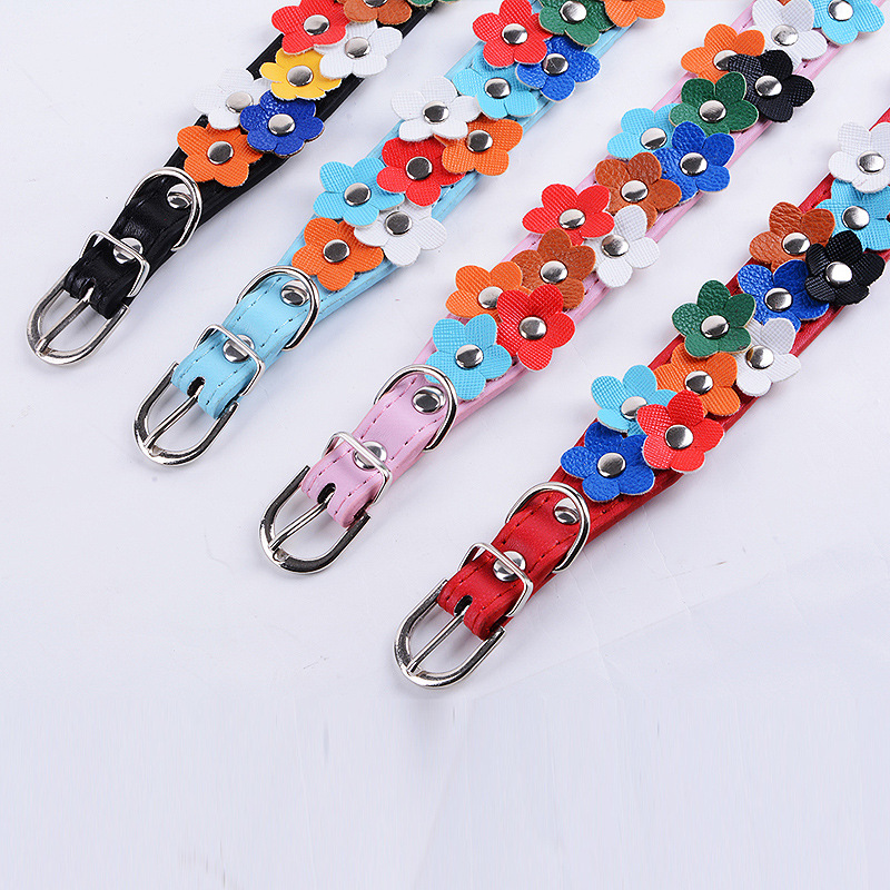 Manufacturers Supply Fresh Flowers And Pet Collar Leather Pet Dog Collar Traction Pet Supplies Wholesale