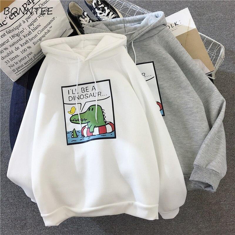 Hoodies Women Ulzzang Winter Warm Soft Kawaii Cartoon Printed Womens Pullover Hooded Long Sleeve Korean Style Ladies Sweatshirts