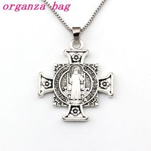 20pcs Quis Et Dues Saint Michael Cross Medal Religious Pendant Necklaces 23.6inches 34x44.5mm A-517d