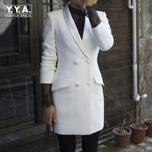 Spring Autumn Women White Formal Blazer Long Jacket Satin Shawl Collar Double Breasted Office Ladies Work Blazer Slim Fit Coat(China)
