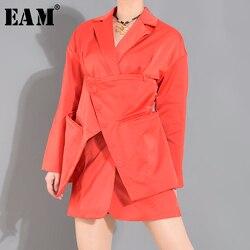 Женский ассиметричный Блейзер EAM, оранжевая/красная куртка с длинным рукавом, 1T66015, 2020