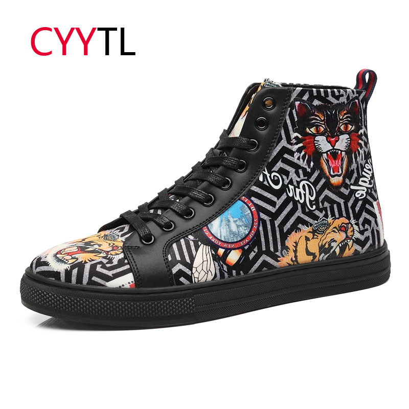 CYYTL New Fashion Men Casual Leather Shoes High-top Bengal Tiger 5D Printing Sneakers Outdoor Walking Tenis Masculino Zapatillas