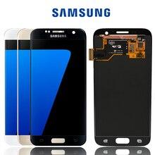 Оригинальный сменный ЖК экран SUPER AMOLED 5,1 дюйма с рамкой, для SAMSUNG Galaxy S7 G930 G930F, сенсорный экран с цифровым преобразователем в сборе