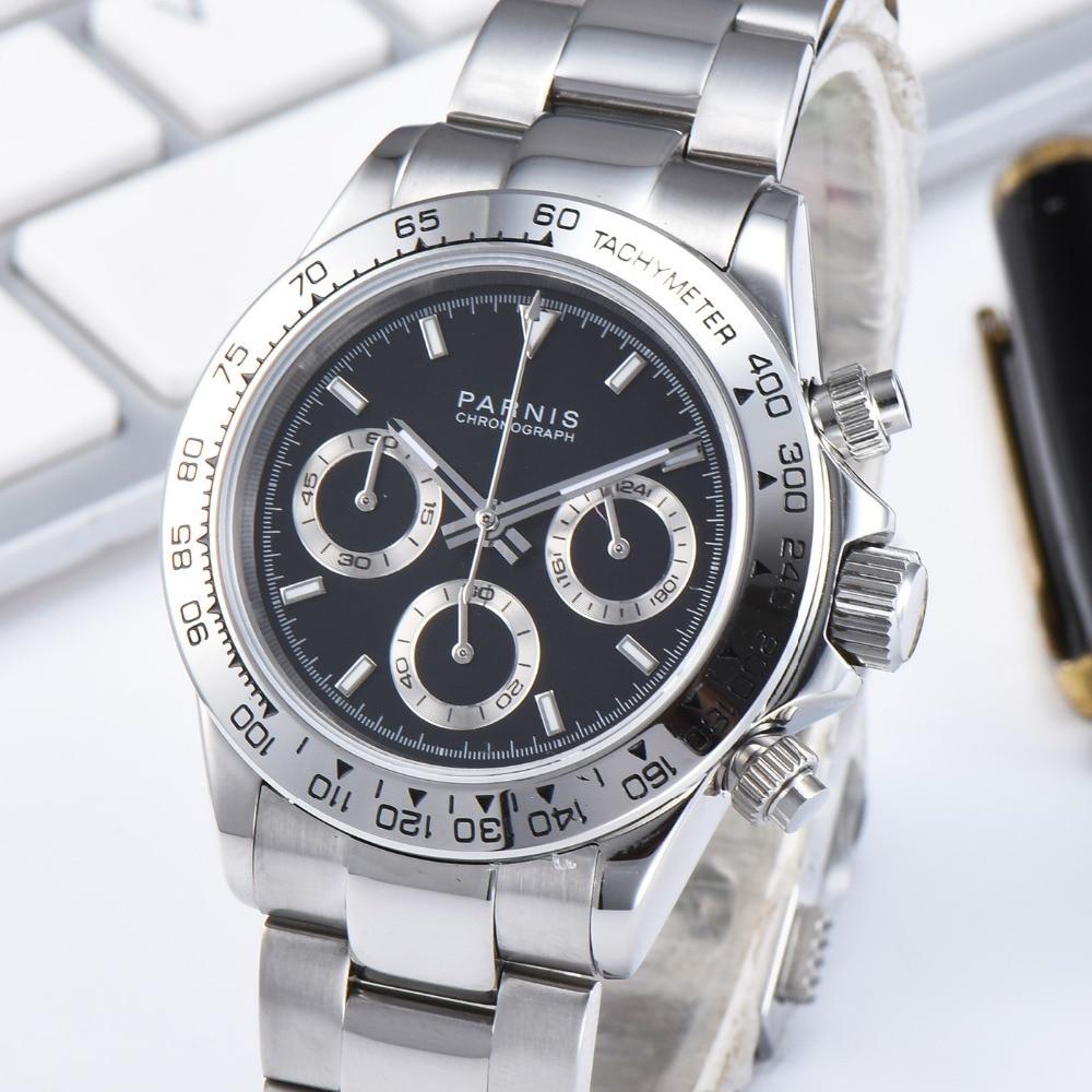Парнис 39 мм кварцевые Для мужчин s часы хронограф Нержавеющаясталь браслет из сапфирового стекла Для мужчин's Часы VK64 двигаться Для мужчин