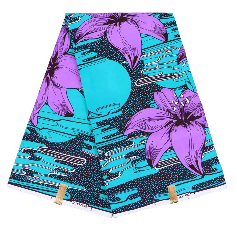 Dutch Wax Purple Lily Print Green Fabric African Wax Print Fabric 6Yards\set