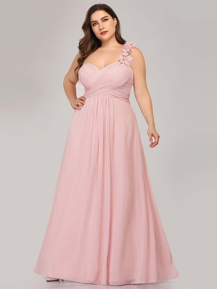 Bridesmaid-Dresses Party-Gowns Wedding Chiffon One-Shoulder Plus-Size Ever Pretty Sweetheart-A-Line