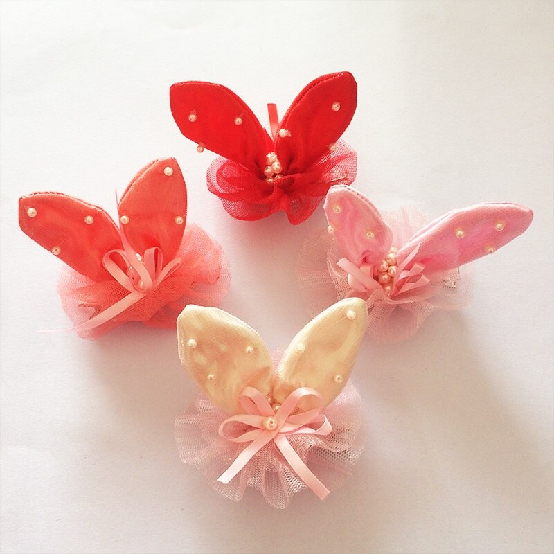 1Pcs/lot Mul-color Cute Rabbit Ear Shiny Yarn Chiffon Hairpins Grid With Ribbon Lovely Hair Clip Girl Accesseries