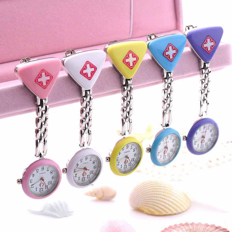 1 pc venda quente clipe enfermeira médico pingente bolso quartzo cruz vermelha broche enfermeiros relógio fob pendurado médica reloj 2020