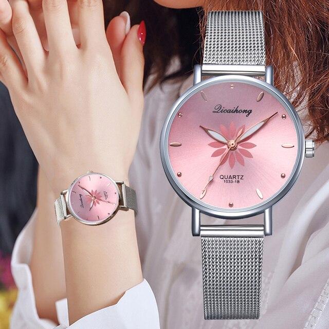 Women's Wristwatches Luxury Silver Popular Pink Dial Flowers Metal Ladies Bracelet Quartz Clock Fashion Wrist Watch 2019 Top