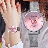 Zegarki damskie luksusowe srebrne popularne różowe tarcze kwiaty metalowa bransoletka damska zegarek kwarcowy moda Wrist Watch 2019 Top