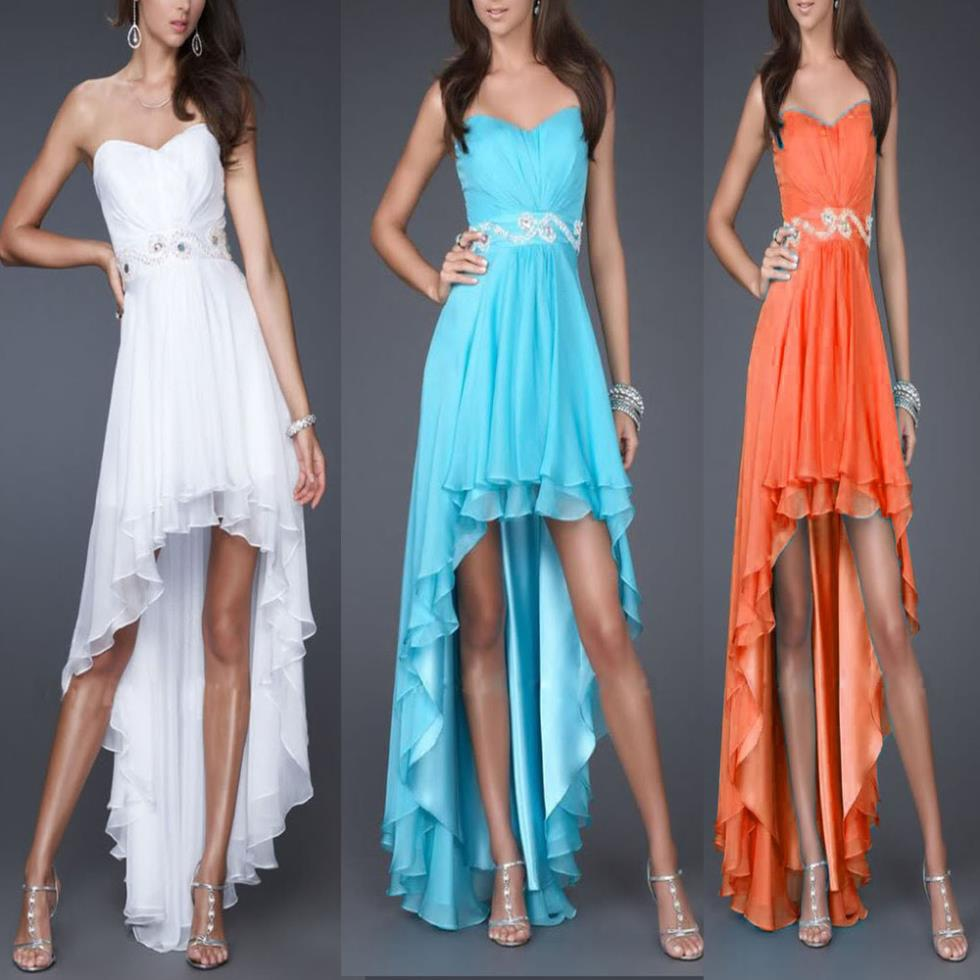 Free Shipping 2016 New Design Hot Seller Custom Size/color High-Low Style Beads Sweetheart Pearls Chiffon Gown Bridesmaids Dress