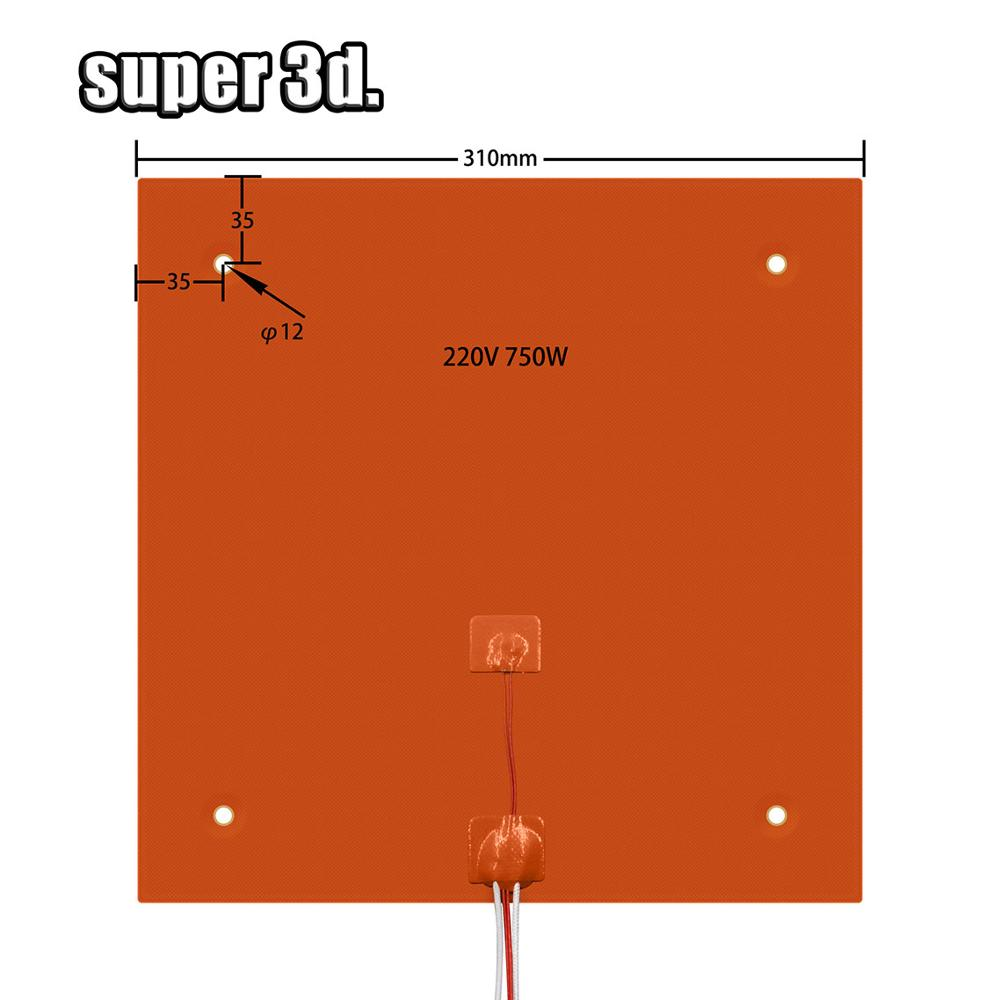 3D Printer Heated Bed Platform Silicone 310x310mm 220v 750w For Creality CR-10 10s pro Heating Pad Build Plate Print Heater Part