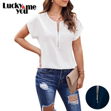 New Arrive 2020 Womens Summer Loose Casual Solid V-Neck Short Sleeve Thin Pullover Blouses Female Zipper Tops Black White Shirt