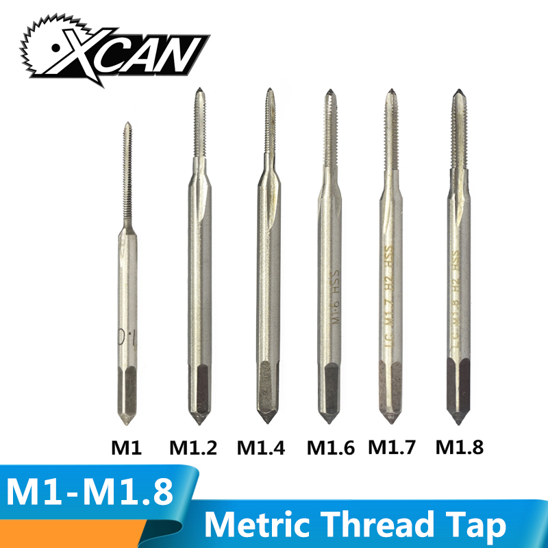 XCAN M1-M1.8 Mini Thread Tap Drill HSS 6542  Straight Flute Screw Hole Tap Drill Metric Machine Thread Tap
