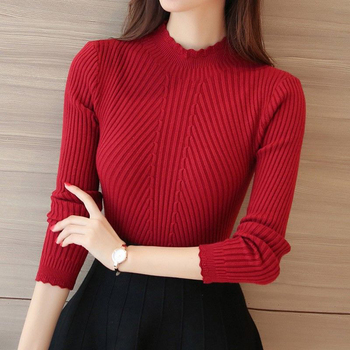 цена на Knitting Women Sweaters And Pullovers Solid Color Turtleneck Slim Casual Ladies Knitted Sweater Winter New Chic Lace Pullover