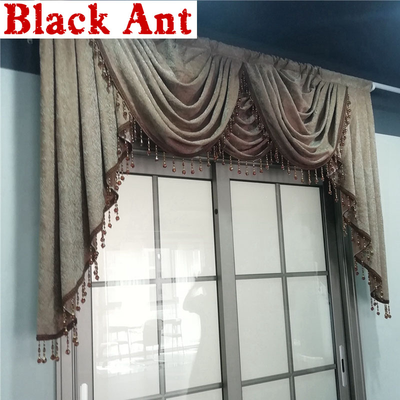Europe Luxury Curtain head All-match Water ripple Window Curtain Valance For Bedroom Living room Drapes Chenille Fabric X818F