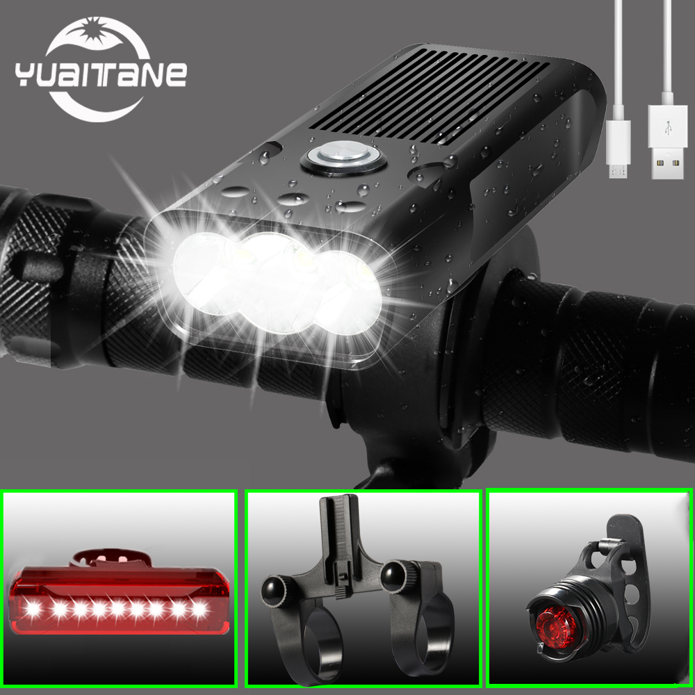 20000lms Bicycle Light 5200mAh USB Rechargeable Bike Light IPX5 Waterproof LED Headlight Flashlight for Cycling Bike Accessories