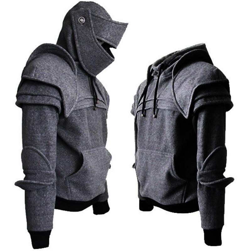 2019 Winter Mens Medieval Style Hoodies Gothic Long Sleeve Men Sweatshirts Halloween Cosplay Costume Duncan Armored Knight Garb