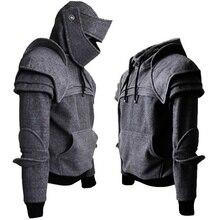 2019 zimowe męskie bluzy w stylu średniowiecznym gotyckie męskie bluzy z długim rękawem kostium Cosplay na Halloween Duncan pancerny rycerz Garb