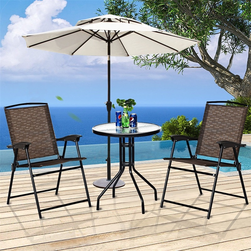 3 Pcs Bistro Patio Garden Furniture Set Outdoor Table Chair Set Folding Chair OP3684