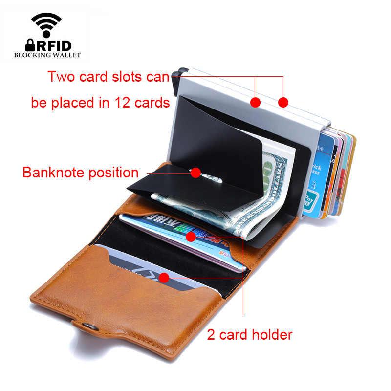 Rfid Blocking Protection Men id Credit Card Holder Wallet Leather Metal Aluminum Business Bank Card Case CreditCard Cardholder