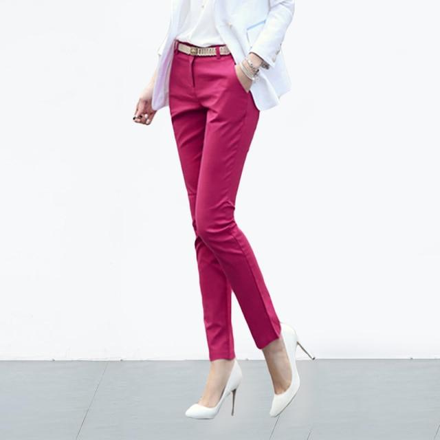 S-4XL Big Size Womens formal office Pencil Pants 2020 New Elegant Ladies Office Work Pants Casual Elastic Cotton Trousers Women 1