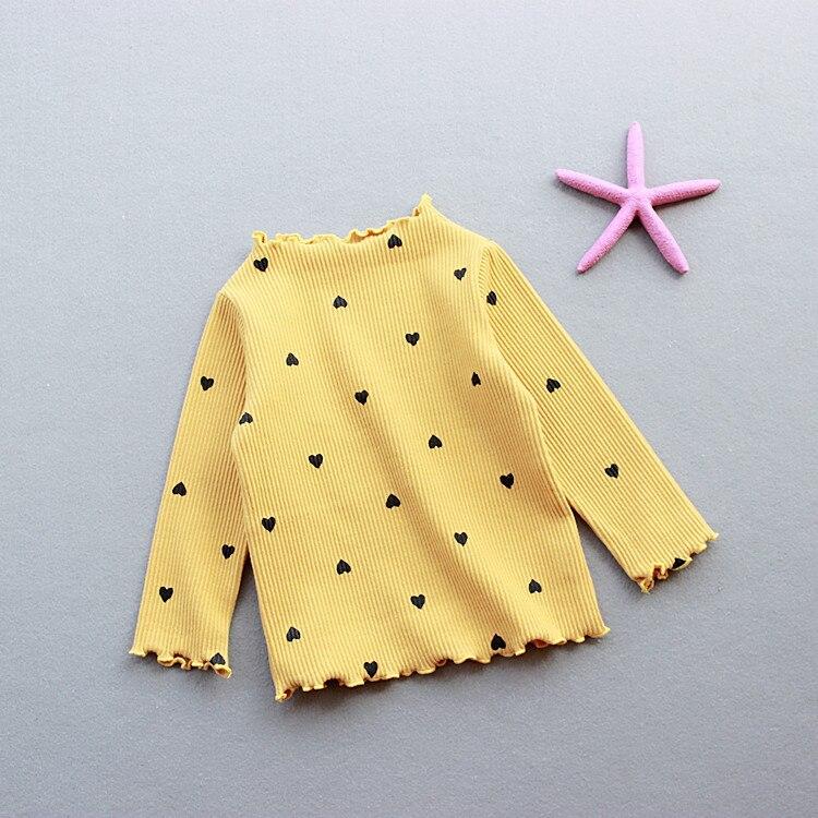 Удобная Осенняя футболка с сердечками для девочек 1-5 лет, модный Детский костюм, розовая одежда, топ для девочек, рубашка с длинными рукавами, одежда для крупных детей, 5 цветов - Цвет: yellow