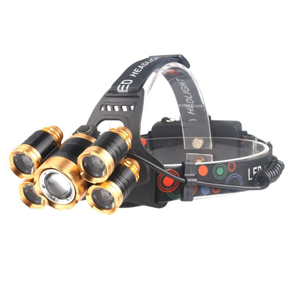 2018 New Arrival 5 LEDs 30W Zoomable Long Shot Headlamp Rechargeable Headlight Head Torch Waterproof Adjustable Headband