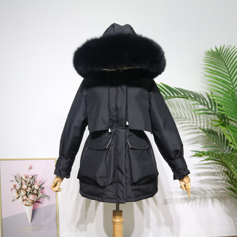 Real Natural Fox Fur Collar 2019 Winter Jacket Women Hooded Down Parkas Medium Long Overcoat Loose Thick Warm Female Down Coat