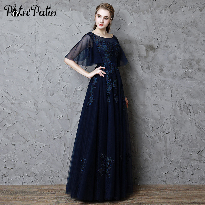 Navy Blue Lace   Prom     Dresses   With Cap Sleeves Scoop Neck A-line Floor-length Appliques Tulle Backless Evening   Dresses   Long