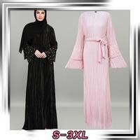 New Dubai Women Pleated Flare Sleeve Maxi Dress Muslim Abaya Islamic Kaftan Robe Long Sleeve Turkey Middle East Dresses Clothing