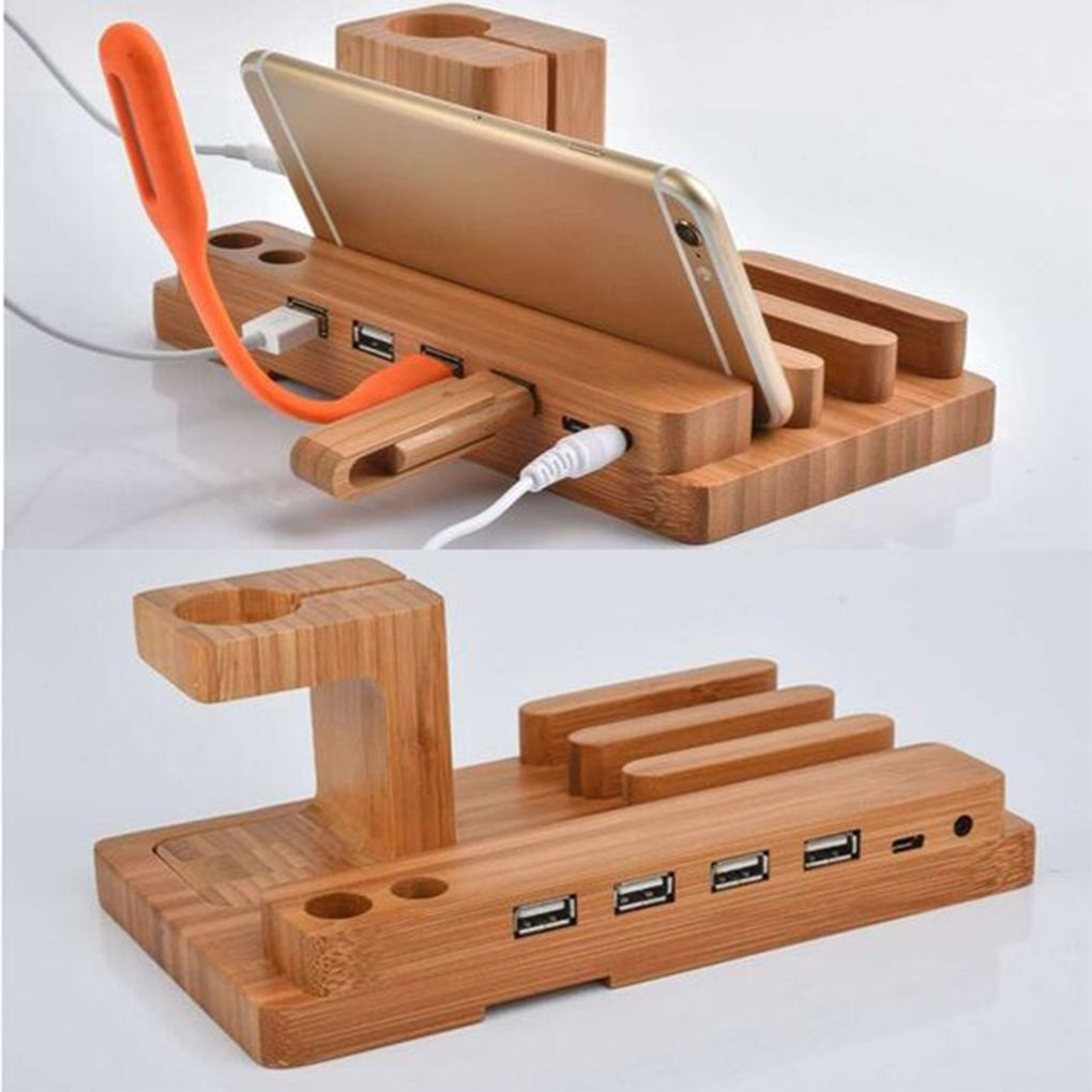 Brand New 4 USB Ports Bamboo Charging Station Phone Holder Wood Organizer Tablets Watch Charger Stand Phone Holders & Stands     - title=