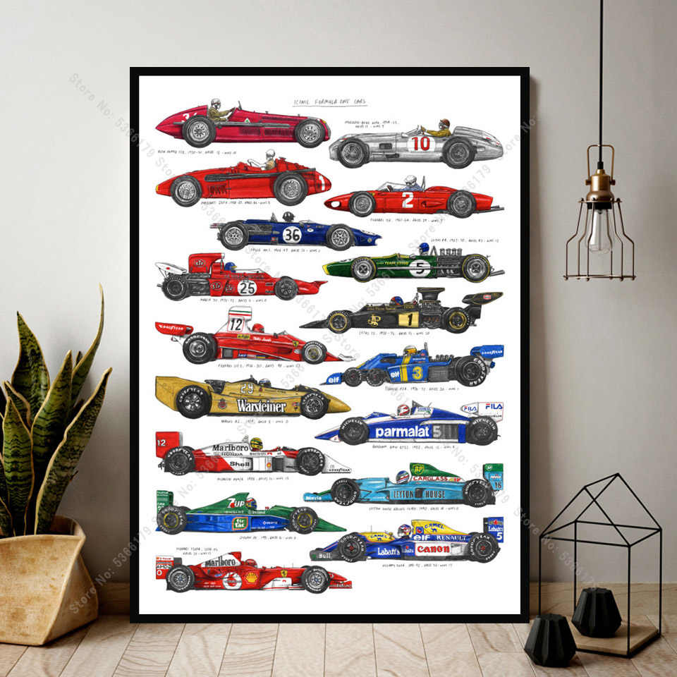 NT609 Olieverf Patent Iconische Formule 1 Auto 'S Ayrton Senna Gift Poster Wall Art Canvas Picture Living Home Kamer decor