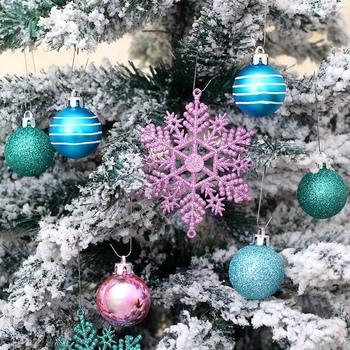 24 sztuk boże narodzenie piłkę i wisiorek w kształcie płatka śniegu s zestaw boże narodzenie drzewa wiszące ozdoby wisiorek w kształcie płatka śniegu boże narodzenie festiwal dekoracje tanie i dobre opinie Christmas Tree Ornaments Plastikowe