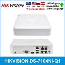 Hikvision original 4-ch mini 1u nvr h.265 + até 4 canais e 4 porta poe ip DS-7104NI-Q1/4 p até 6 mp alta-definição nvr