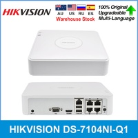 Hikvision Original 4 ch Mini 1U NVR H.265+ Up to 4 Channel and 4 Poe port IP DS 7104NI Q1/4P UP to 6 MP high definition NVR