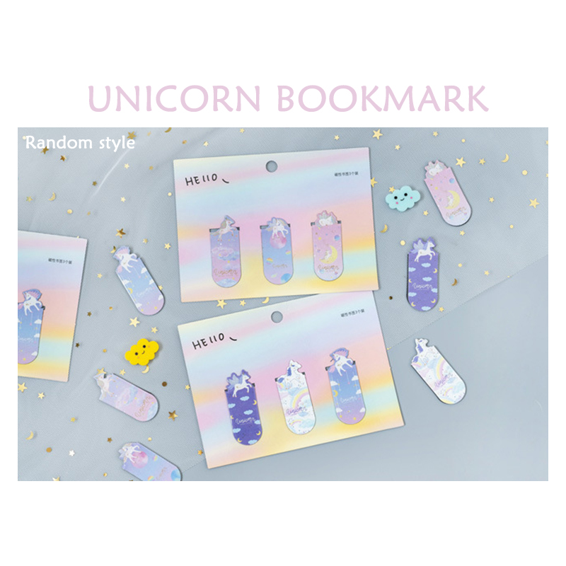3pcs Unicorn Bookmark Combination Magnet Student Creative Mini Book Clip Book Holder Office Stationery Bookmark