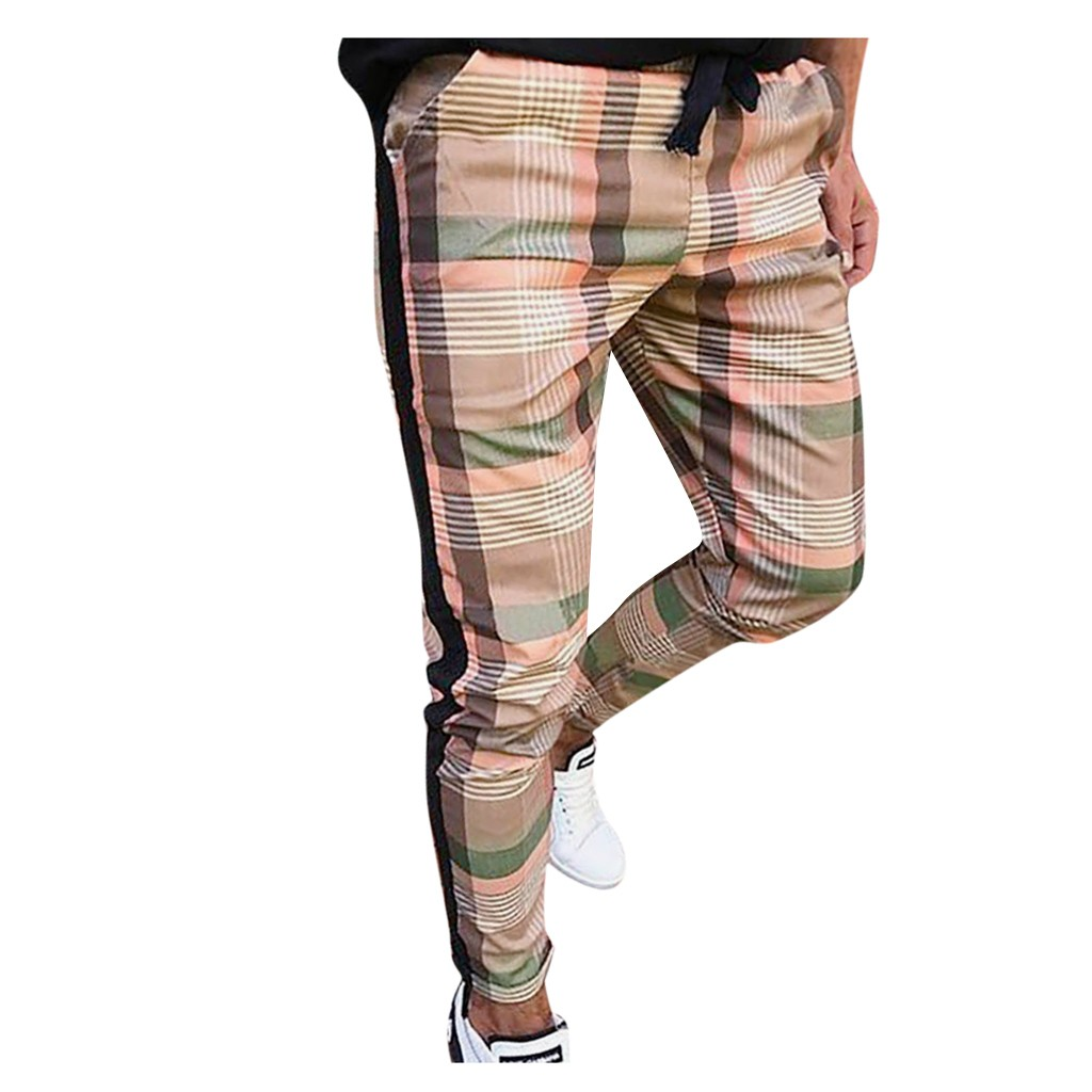 Plaid Pants Men Lattice Pencil Casual Plaid Drawstring Elastic Waist Long Pants Trousers  Streetwear Hip Hop Sweatpants Men Pant