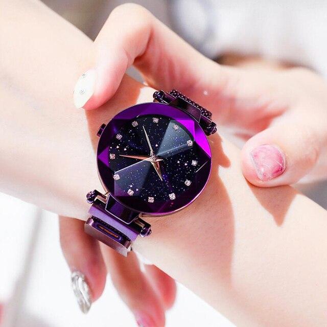 Lujosos relojes de pulsera de malla de acero inoxidable con cielo estrellado para mujer, relojes de pulsera de cuarzo analógicos de cristal, reloj deportivo para mujer