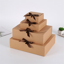 Boîte carrée en papier Kraft, emballage en carton, cadeau de saint-valentin, boîtes de rangement de bonbons avec rubans