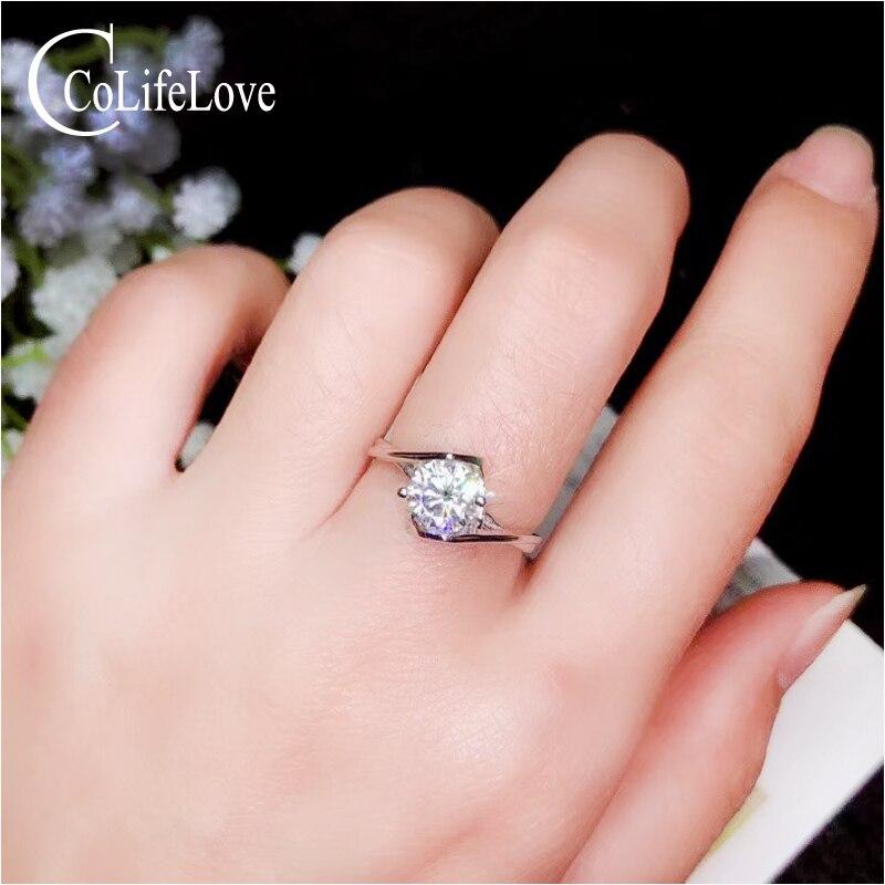 CoLife bijoux 925 bague de fiançailles en argent avec Moissanite 1 & 2ct véritable Moissanite bague de mariage en argent Sterling Moissanite bijoux