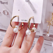new simple creative pearl stud earrings for women gold color personality prevent allergy circle fashion jewelry