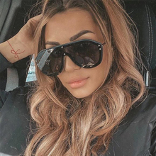 2019 Oversized pilot sunglasses women mirror fashion brand shield