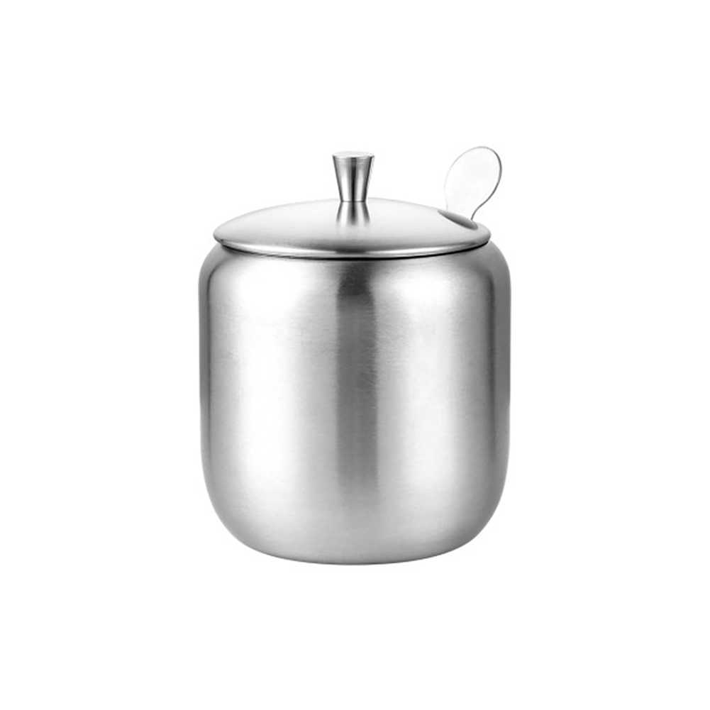 Storage Seasoning Jar Sugar Bowl Stainless Steel Kitchen Spice Container Durable Household Small Coffee With Lid Spoon Silver