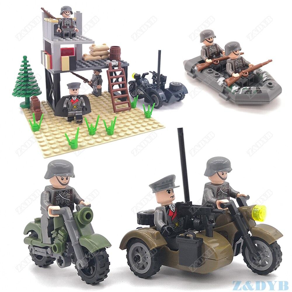WW2 Motorcycle Mini Soldier Military Figure Gun Army Weapon Accessories Kits Playmobil Locking Building Block Brick Children Toy
