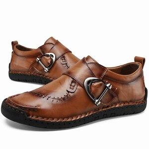 Image 2 - Nieuwe Hoge Kwaliteit Split Lederen Herenschoenen Handgemaakte Mannen Instappers Antislip Flats Comfortabele Kleding Schoenen Casual Schoenen big Size 48