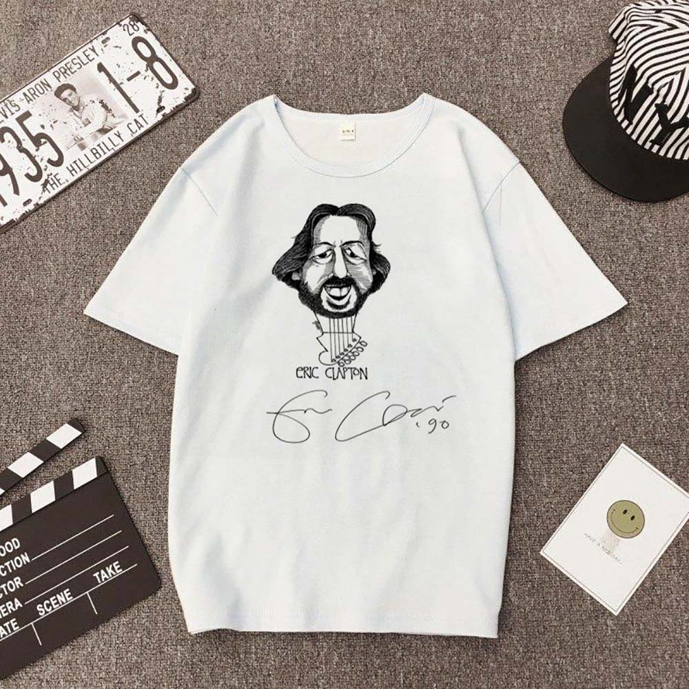 Slow Hand Male Guitarist Eric Clapton Eric's Blues Funny Print T-Shirt Unisex Short Sleeve Trendy White Male Street Jacket Top image