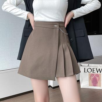 Łańcuszek wysokiej talii nieregularna spódnica w stylu linii w koreańskim stylu moda uliczna moda plisowana krótka spódniczka jesienno-zimowa gruba damska krótka spódniczka tanie i dobre opinie Xinliangyi A-LINE POLIESTER Fałdy CN (pochodzenie) empire Stałe Powyżej kolana mini Dla osób w wieku 18-35 lat wyszywana