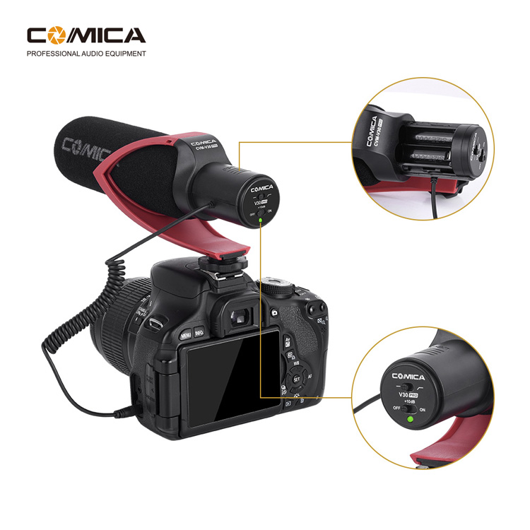 Comica CVM-V30 PRO Camera Microphone Electric Super-Cardioid Directional Condenser Video Microphone For Canon Nikon Sony DSLR