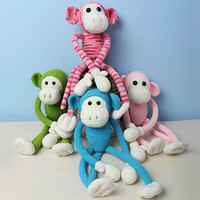 2019 cute hand knitted baby monkey knitting doll wool cotton crochet doll stuffed PP cotton soft pillow toy (finished)